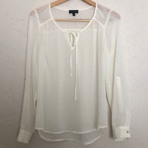 The Limited Ivory Sheer Swiss Dot Blouse sz. 0